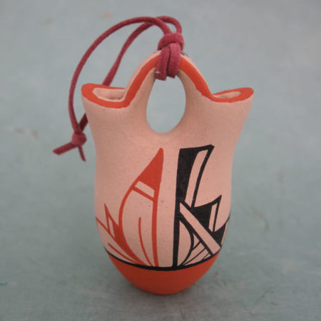 JEMEZ PUEBLO POTTERY WEDDING VASE ORNAMENT BY VIRGINIA CHINANA