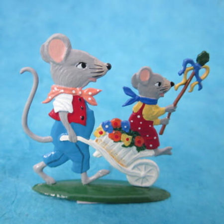 GERMAN PEWTER MICE - FATHER AND SON