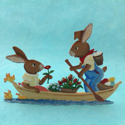 GERMAN PEWTER BUNNIES IN A BOAT