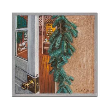SUSAN'S CHRISTMAS SHOP, BACK DOOR, PASTEL BY ANDREW WEBER
