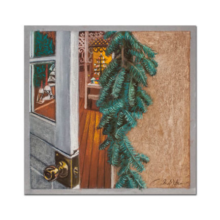 SUSAN'S CHRISTMAS SHOP, BACK DOOR, PASTEL BY ANDREW WEBER