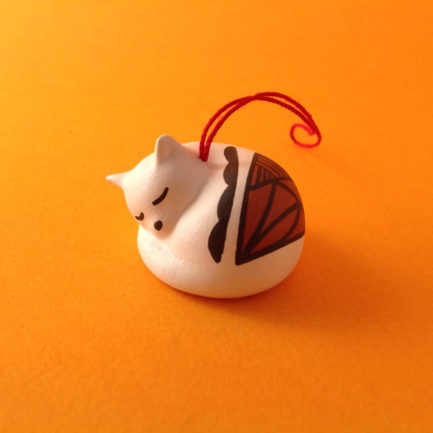 CURLED UP ACOMA CAT ORNAMENT BY PRISCILLA JIM