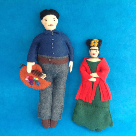 FRIDA KAHLO & DIEGO RIVERA FELT ORNAMENT BY LEAH KOSTOPLOS