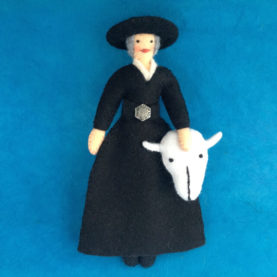 FELT GEORGIA O'KEEFFE WITH COW SKULL FELT ORNAMENT BY LEAH KOSTOPLOS