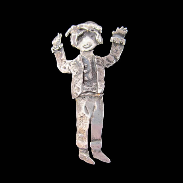 STERLING SILVER SANTON PIN BY CATHERINE MAZIERE
