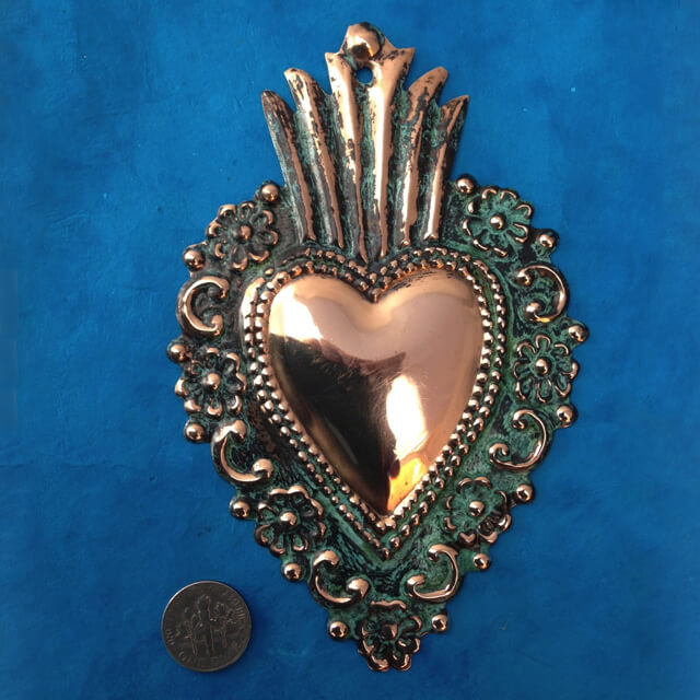 LARGE COPPER MILAGRO HEART