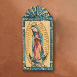 OUR LADY OF GUADALUPE RETABLO ORNAMENT BY LYNN GARLICK