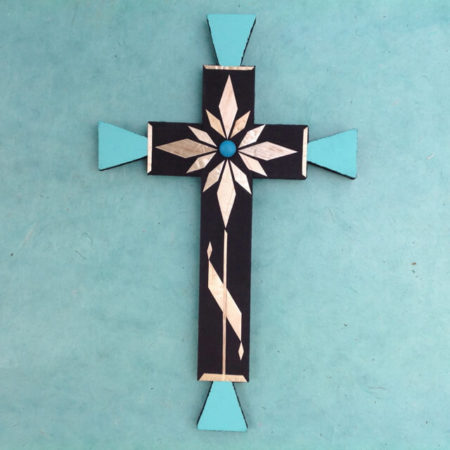 WHEAT STRAW APPLIQUE CROSS BY CARLTON GALLEGOS OF SANTA ANA PUEBLO (LG)