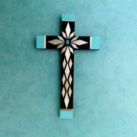 WHEAT STRAW APPLIQUE CROSS BY CARLTON GALLEGOS OF SANTA ANA PUEBLO (SM)