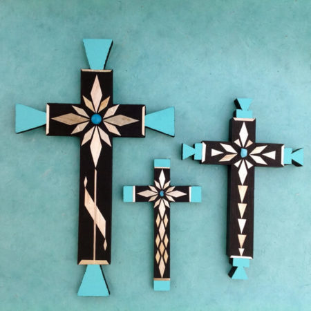 WHEAT STRAW APPLIQUE CROSSES BY CARLTON GALLEGOS OF SANTA ANA PUEBLO