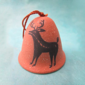 PUEBLO POTTERY BELL ORNAMENT WITH DEER BY JOSHUA GARCIA