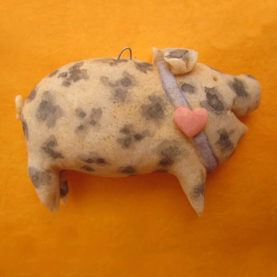 DOUGH SPOTTED PIG ORNAMENT BY SUSAN WEBER