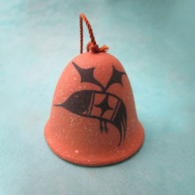 PUEBLO POTTERY BELL ORNAMENT WITH HUMMINGBIRD BY JOSHUA GARCIA
