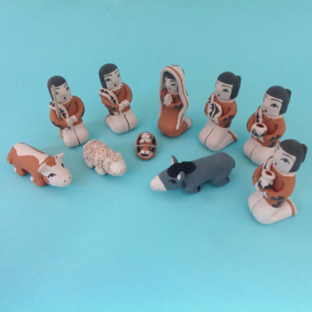 TEN PIECE PUEBLO POTTERY NATIVITY BY ANGEL BAILON OF SANTO DOMINGO PUEBLO