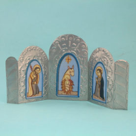 TIN NATIVITY TRIPTYCH BY NICOLAS MADRID (BLUE)