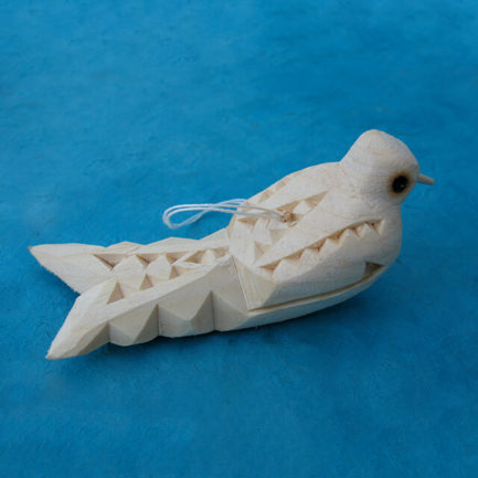 CARVED WOODEN FISH ORNAMENT BY MANUEL MONTOYA