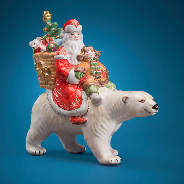 RUSSIAN MAJOLICA SANTA ON POLAR BEAR