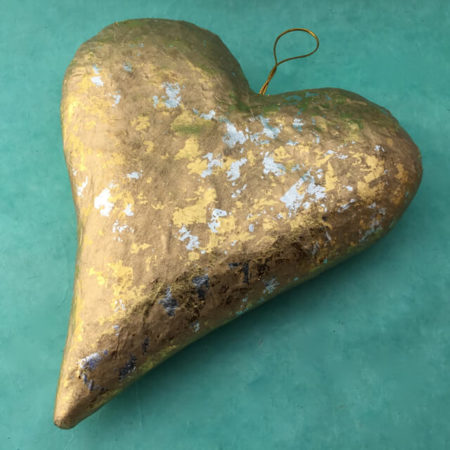 LARGE PAPER MACHE GOLDEN HEART
