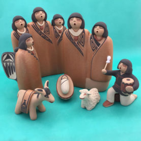 JEMEZ PUEBLO POTTERY NATIVITY WITH DRUMMER BOY BY MAXINE TOYA