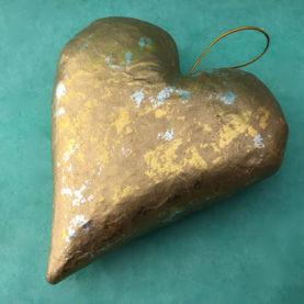PAPER MACHE GOLDEN HEART