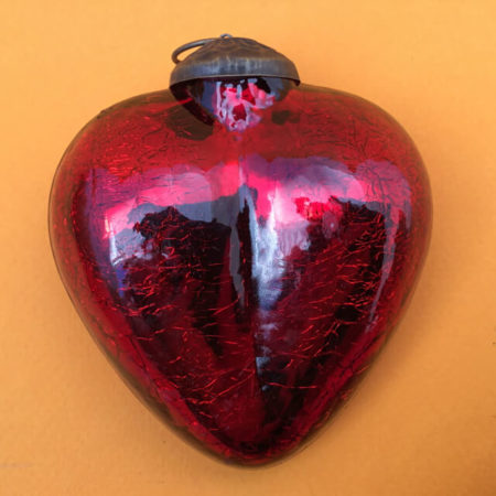 LARGE MERCURY GLASS HEART