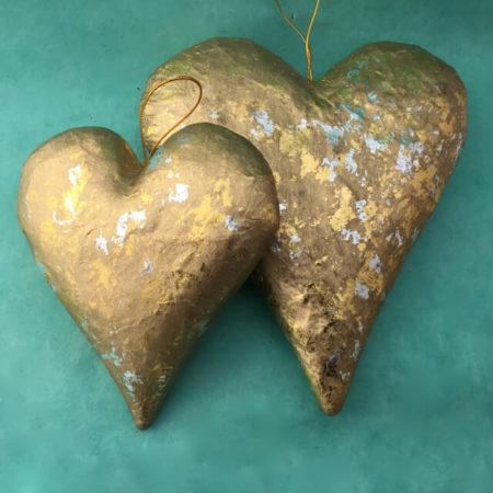 PAPER MACHE GOLDEN HEARTS