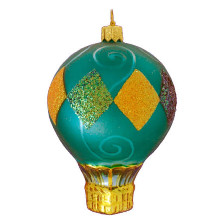 DIAMONDS HOT AIR BALLOON GLASS ORNAMENT
