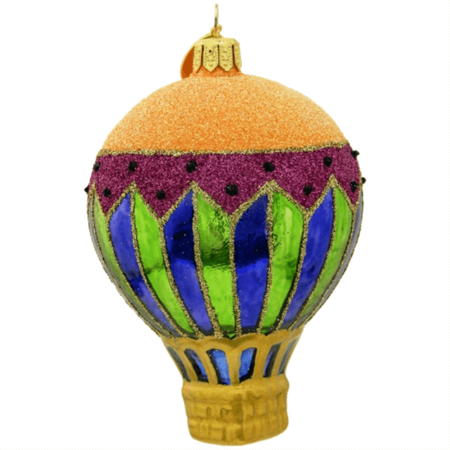 HARLEQUIN II HOT AIR BALLOON GLASS ORNAMENT