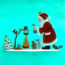 A WOODLAND CHRISTMAS SANTA GERMAN PEWTER