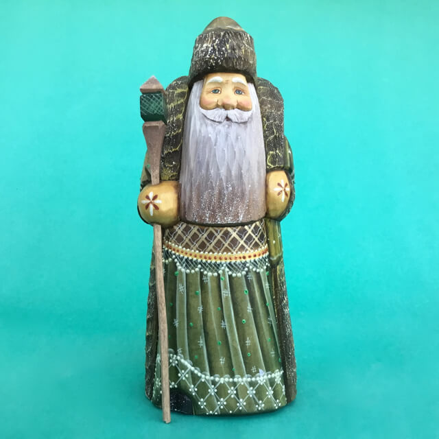 CARVED WOOD RUSSIAN SANTA GREEN