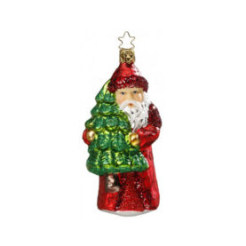 SANTA CLAUS WITH TREE: GERMAN ORNAMENT BY INGE GLASS