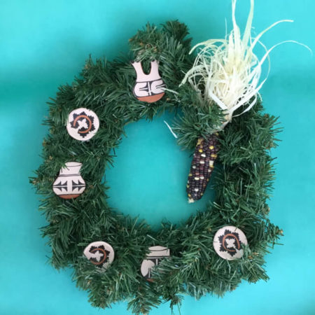 WREATH WITH SANTO DOMINGO POTTERY ORNAMENTS BY RYLAND BAILON