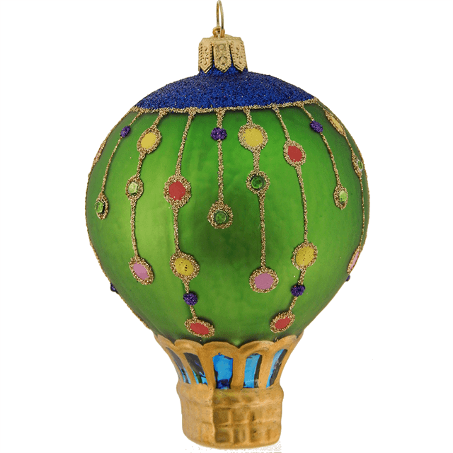 STRING OF STARS HOT AIR BALLOON GLASS ORNAMENT