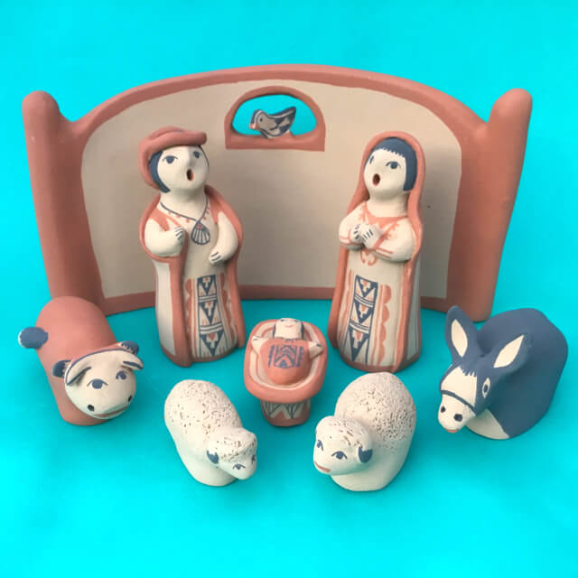 JEMEZ PUEBLO NATIVITY WITH BIRD BY DORINA CHINANA