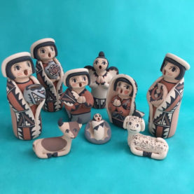 JEMEZ PUEBLO NATIVITY WITH ANGEL BY CHRISLYN FRAGUA
