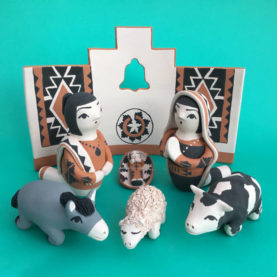 PUEBLO POTTERY NATIVITY WITH WALL BY ANGEL BAILON OF SANTO DOMINGO PUEBLO
