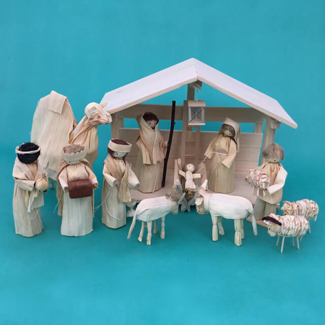 CORNHUSK NATIVITY WITH STABLE FROM SLOVAKIA
