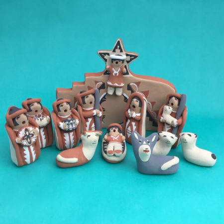 JEMEZ PUEBLO NATIVITY WITH WALL AND ANGEL BY JUDY TOYA