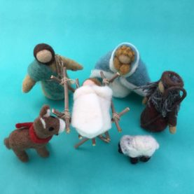 NEEDLE FELTED NATIVITY FROM NEPAL