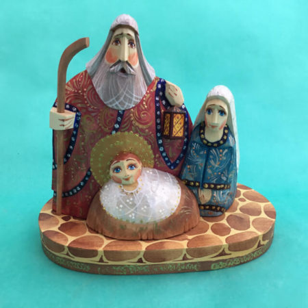 RUSSIAN CARVED WOOD ONE PIECE NATIVITY