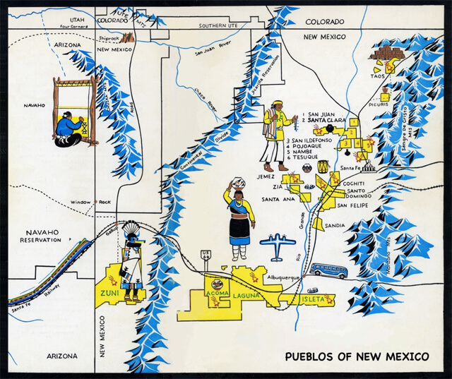 New Mexico map of the Pueblos