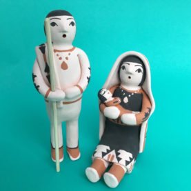 POTTERY NATIVITY BY ANGEL BAILON OF SANTO DOMINGO PUEBLO