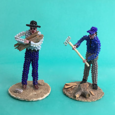 """NAVAJO BEADED """"CHOPPING FIRE WOOD"""" BY SHEILA ANTONIO - SET OF TWO"""
