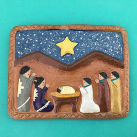 NAVAJO NATIVITY TILE BY ELIZABETH MANYGOATS