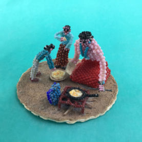 "NAVAJO BEADED ""COOKING ON THE CAMPFIRE"" BY SHEILA ANTONIO"