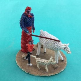 "NAVAJO BEADED ""TENDING HER SHEEP"" BY SHEILA ANTONIO"