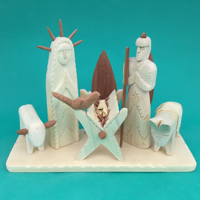 CARVED WOOD NATIVITY BY SABINITA LOPEZ ORTIZ