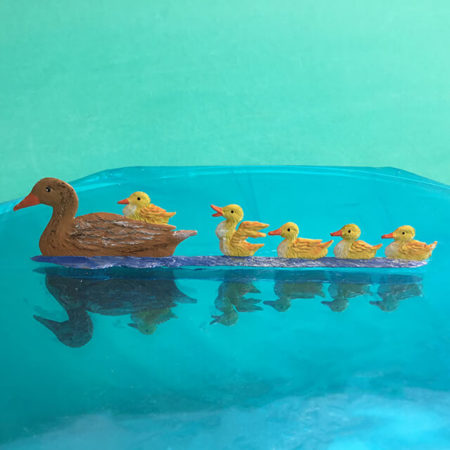 GERMAN PEWTER DUCK FAMILY