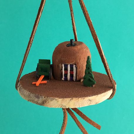 NAVAJO SUMMER WOODEN HOGAN BY LEO BENALLY