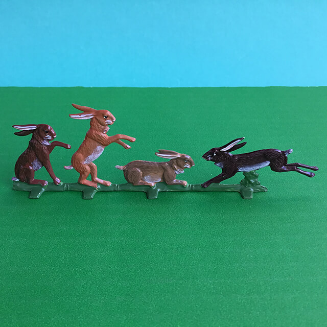 GERMAN PEWTER PLAYFUL BUNNIES